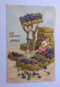 Neujahr, Kinder, Blumen, Veilchen,  1907, Prägekarte ♥ (71193)