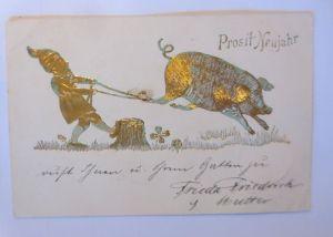 Neujahr, Zwerge, Schwein, Kleeblatt,   1905, Prägekarte, Golddruck ♥ (71187)