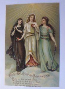Glaube, Liebe, Hoffnung, Anker, Herz, Sonne, 1905, Prägekarte  ♥  (20197)