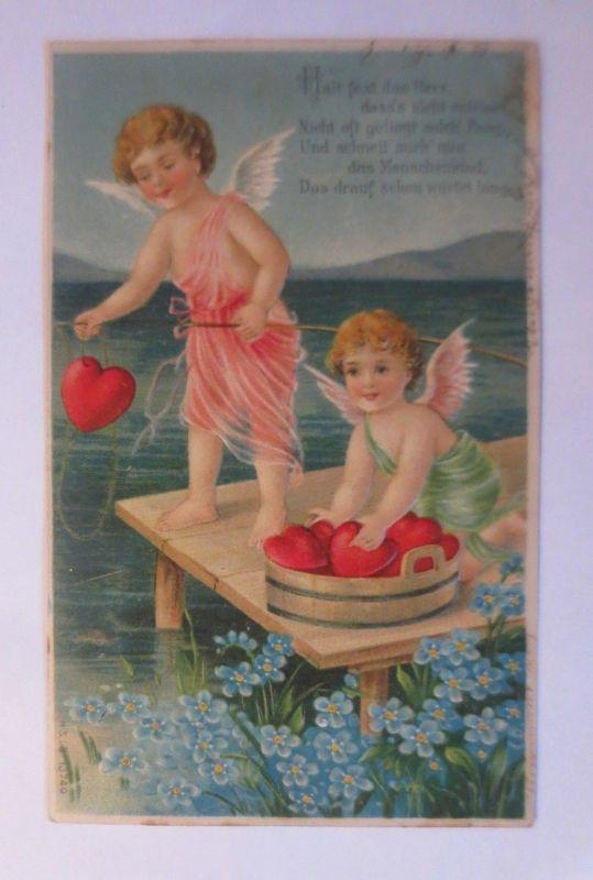 Valentinstag, Engel, Amor, Herzen, Meer, Angel, 1907, Prägekarte ♥  (66253)