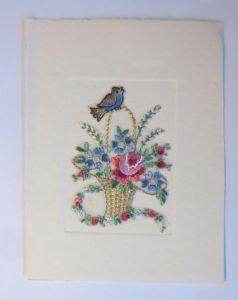 Materialkarte, Stick-Karte, Sticken, Seidenstickerei, Blumen,  1930 ♥ (32128)