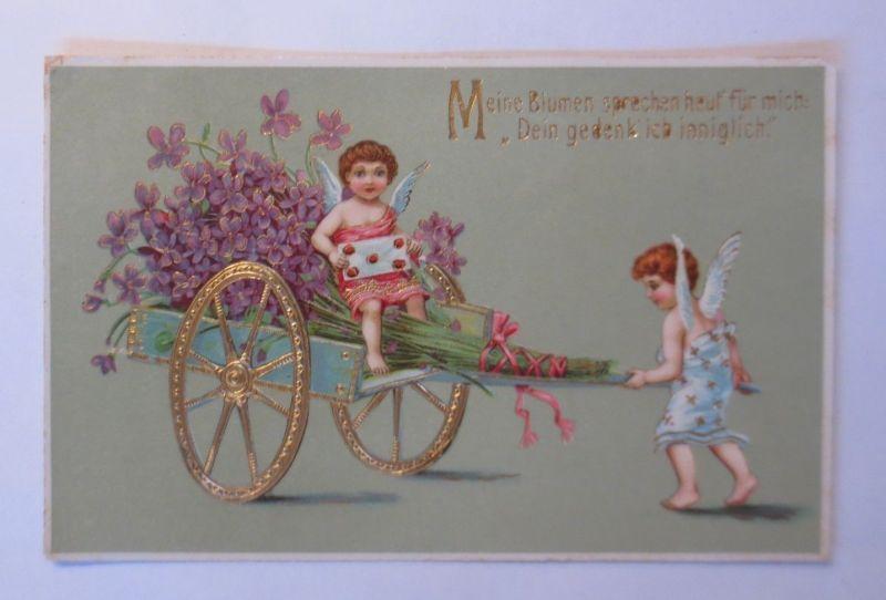 Valentinstag, Engel, Amor, Blumen, Wagen, Veilchen,  1912, Prägekarte ♥ (49852)