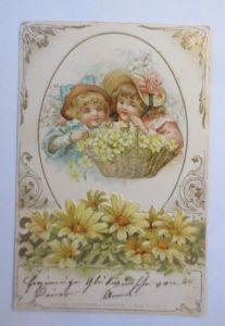 Kinder, Mode, Korb, Blumen,  1901, Prägekarte, Theo Strofer  ♥ (71334)