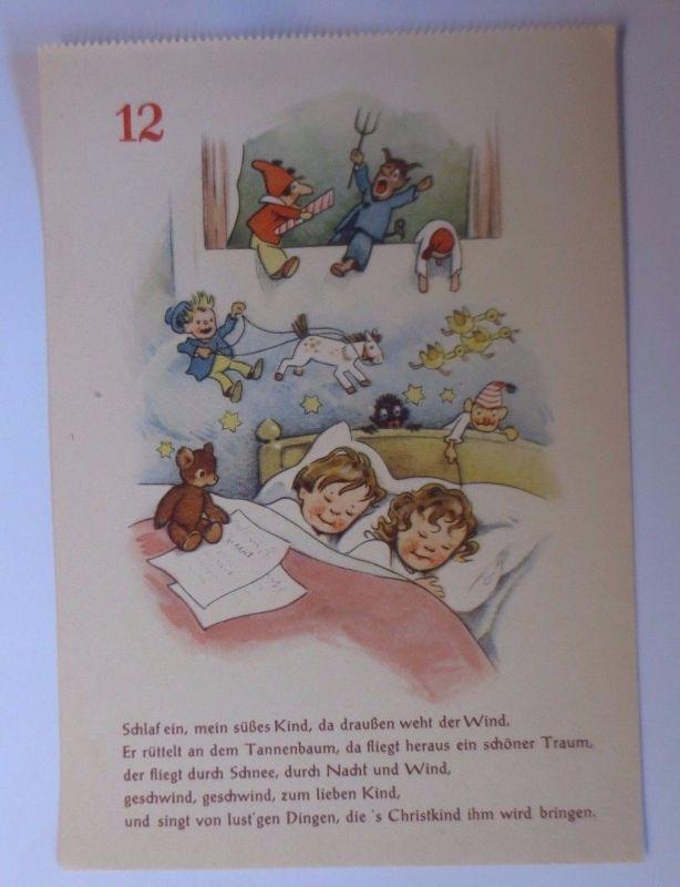 Adventskalender Blatt Nr.12, Kinder, Krampus, 1950, Fritz Baumgarten♥(61823)