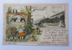 Gruß aus München, Kinder, Hase, Brunnen, 1917, Theo Stroefer, Litho ♥ (71319)