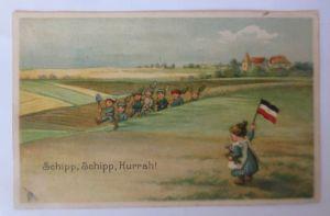Kinder, Soldaten, Fahne, Spielzeug, Schipp, Schipp, Huurah 1915 ♥ (66929)