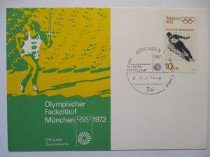 Deutschland, Olympia Fackellauf 1972, Sonderstempel Göttingen (498)