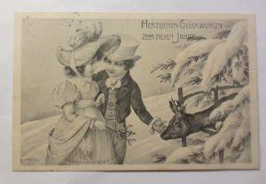 Neujahr, Kinder, Mode, Misteln, Rehe,   1907, P. Kratki ♥ (71386)