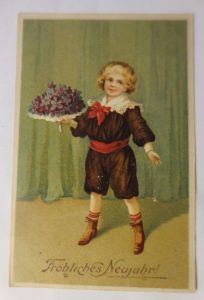 Neujahr, Kinder, Mode, Blumen,  1913, Prägekarte ♥ (71384)