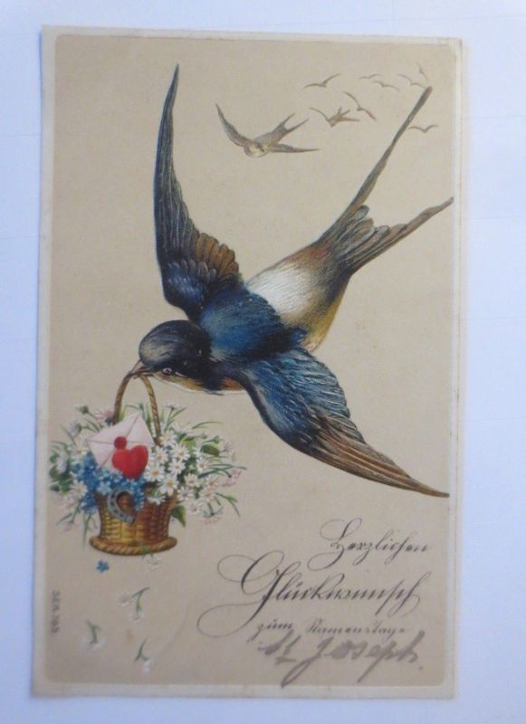 Namenstag, Vogel, Schwalbe, Korb, Blumen, Brief, 1910, Prägekarte ♥ (41304)