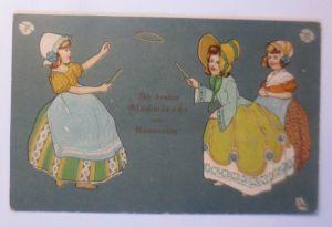 Namenstag, Biedermeier, Kinder, Mode, Reifen treiben, 1915, Prägekarte ♥ (50225)