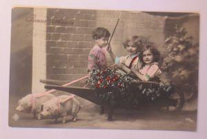 Neujahr, Kinder, Mode, Schubkarre, Misteln, Schwein, 1913  ♥ (38018)