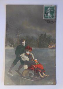 Neujahr, Frauen, Männer, Schlittschuhlaufen, Schlitten,  1908 ♥ (7302)