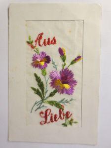 Seidenstickerei, Sticken, Blumen, Aus Liebe,  1917 ♥  (71495)