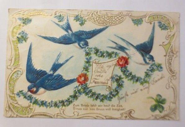 Jugendstil, Schwalben,Girlanden,  1903, Prägekarte ♥ (71481)