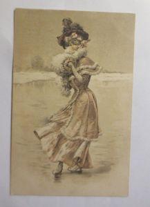 Neujahr, Wintersport, Frauen, Mode, Muff, Schlittschuhlaufen,  1900 ♥ (71415)