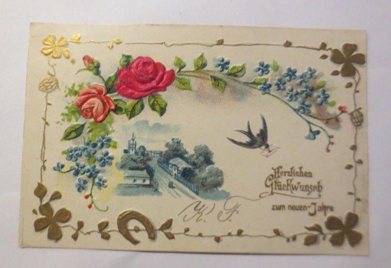 Neujahr, Rosen, Schwalbe, Glückssymbole,  1909, Prägekarte ♥ (71409)