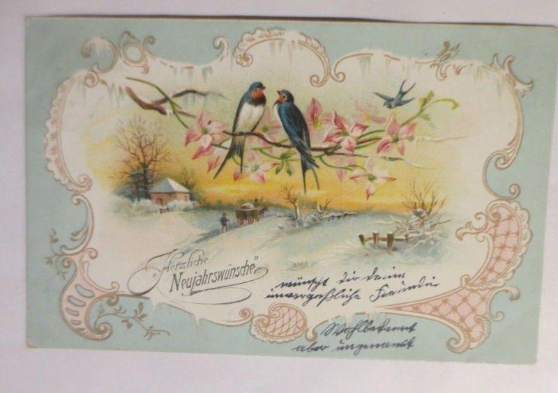 Neujahr, Schwalben, Winterlandschaft, Jugendstil,  1905 ♥ (71403)