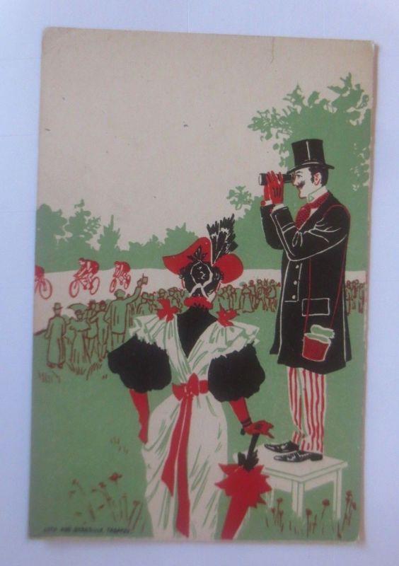 Fahrrad, Fahrradrennen, Frauen, Männer, Fernrohr,  1900, Litho ♥ (80067)