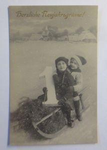 Neujahr, Kinder, Mode, Schlitten,  1920 ♥ (71977)
