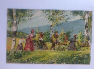 Pfingsten, Frauen, Männer, Ausflug, Kinderwagen,   1909 ♥ (80066)
