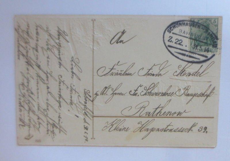 Bahnpost, Schönhausen-Sandau, Pfingsten, Ausflug,  1914, Prägekarte ♥ (80054)
