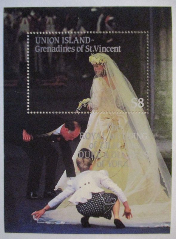 Union Island Grenadines of St. Vincent, Block Royal Wedding postfrisch (500)