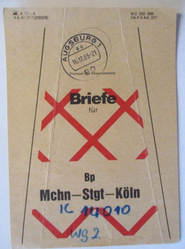 Bahnpost Briefbundzettel 1985 München Stuttgart Köln (604)