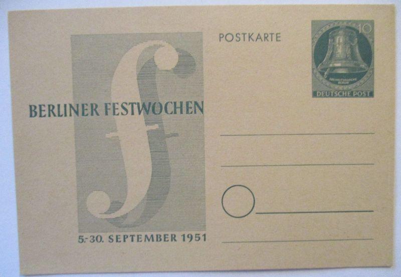 Berlin, Ganzsache Berliner Festwoche 1951 ungebraucht (66682)