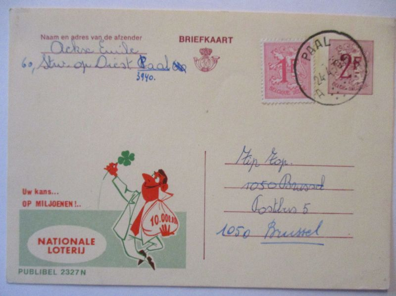 Belgien, Lotterie, Werbung Reklame Ganzsache 1970 (65474)