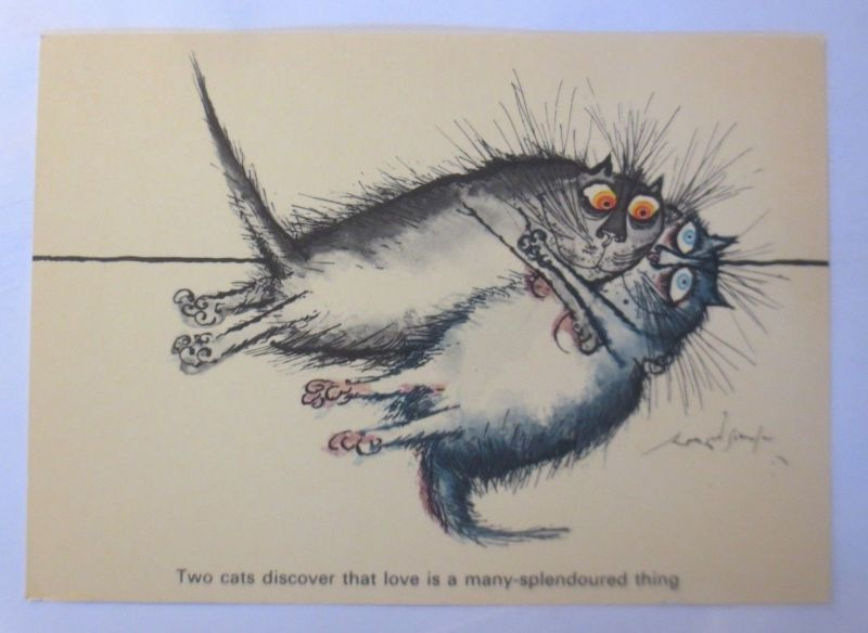 Katzen, Ronald Searle, Two Cats Discover, Cat, Camden Graphics, 1981 ♥ (71932)