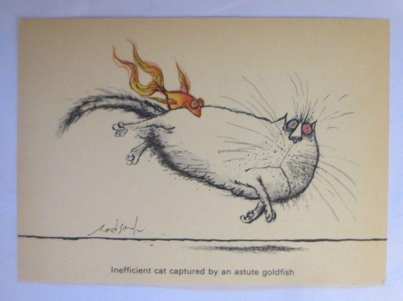 Katzen, Ronald Searle, Inefficient, Cat, Camden Graphics, London, 1981 ♥ (71927)