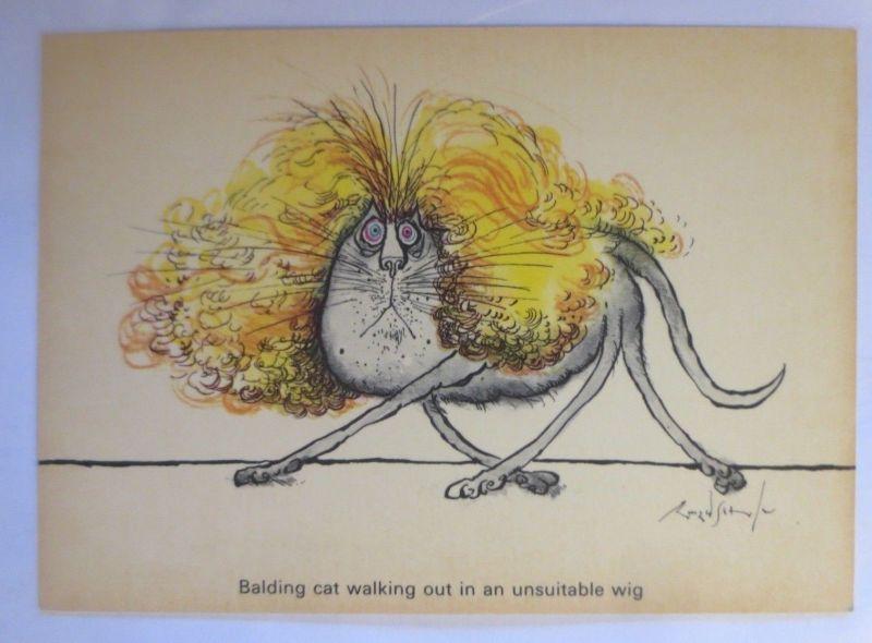 Katzen, Ronald Searle, Balding Cat, Camden Graphics, London, 1981 ♥ (71925)