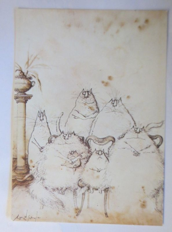 Katzen, Ronald Searle, Familienfoto, Camden Graphics, London, 1978 ♥ (71921)