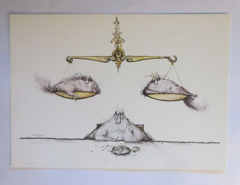 Katzen, Ronald Searle, Waage, Camden Graphics, London, 1977 ♥ (71920)