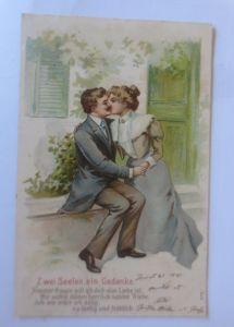 Frauen, Männer, Liebe,  Zwei Seelen, ein Gedanke, 1905, Prägekarte ♥ (80073)