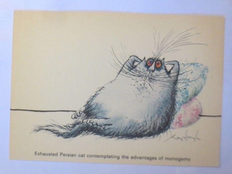 Katzen, Ronald Searle, Persian Cat, Camden Graphics 1981, London ♥ (71912)