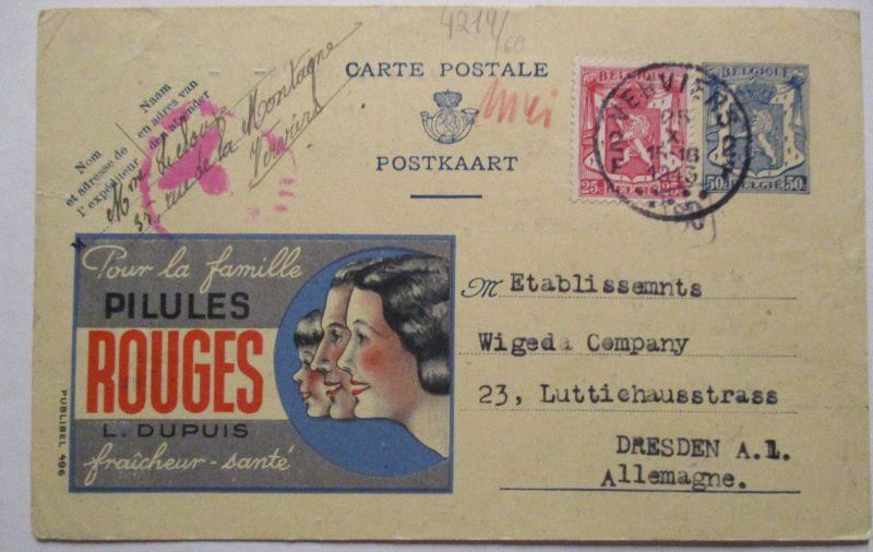 Belgien, Werbung Ganzsache Pilules Rouges, Zensur 1943 (7710)