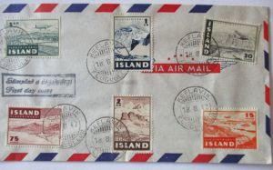 Island, Nr. 241-246 Flugzeuge Luftpost FDC 1947 (61159)