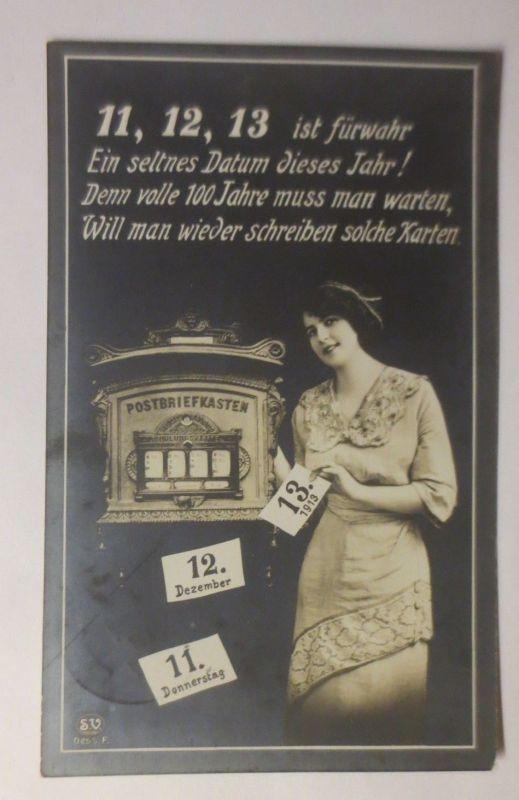 Frauen, Mode, Brief, Briefkasten, Post, Datum 11.12.1913 ♥ (2209)
