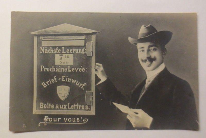 Männer, Mode, Hut, Brief, Briefkasten, Post, 1906 ♥ (2205)