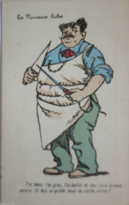 La Noveaux Riches, Metzger, Berufe, Scherzkarte ca. 1920 (21070)