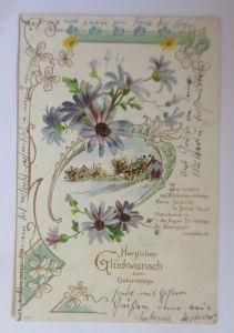 Geburtstag, Landschaft, Blumen, Jugendstil,  1905, Prägekarte ♥ (9376)