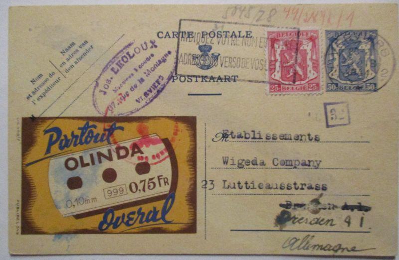 Belgien, Werbung Ganzsache Partout Olinda, Zensur 1944 (40282)