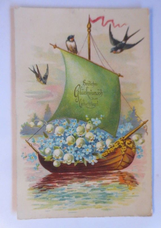 Geburtstag, Segelboot, Maiglöckchen, Schwalben,  1908 ♥ (72050)