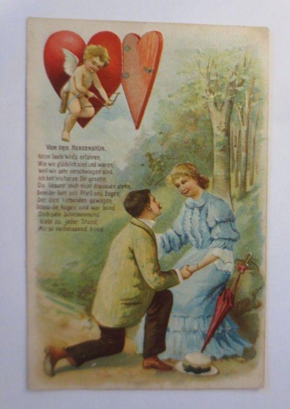 Valentinstag, Frauen, Männer, Amor, Vor der Herzenstür, 1907, Prägekarte♥(71991)