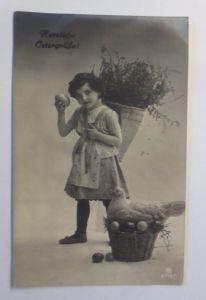 Ostern, Kinder, Mode, Korb, Weidenkätzchen, Huhn, Ostereier,   1916 ♥ (71978)