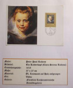 Liechtenstein, Maximumkarte, Peter Paul Rubens, Ein Kinderkopf, 1985 ♥ (3392)