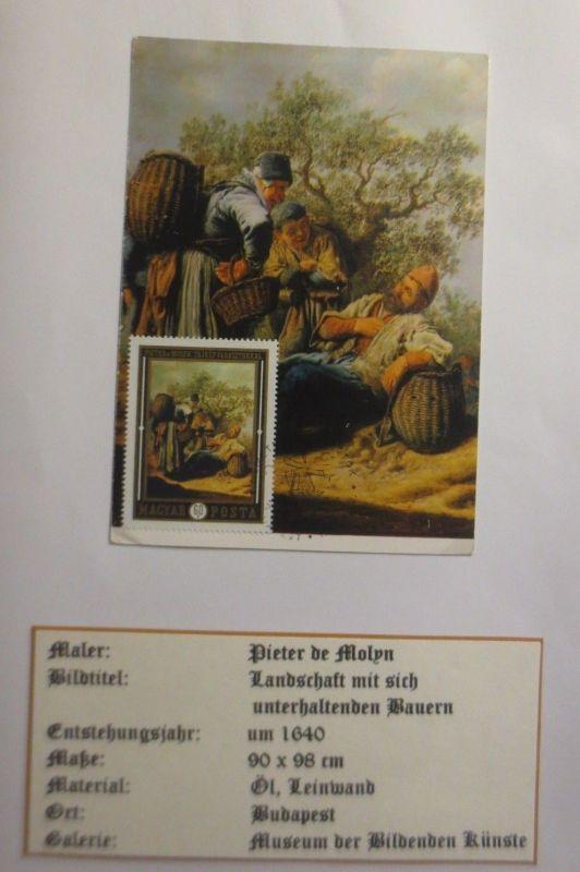 Ungarn, Maximumkarte, Dieter de Molyn, Landschaft mit Bauern, 1972 ♥ (3346)