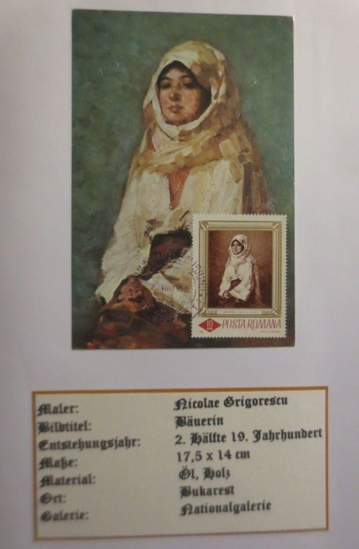 Rumanien , Maximumkarte Nicolae Grigorescu, Bäuerin, 1966 (3864)